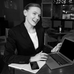 Business woman working directly for Anev success